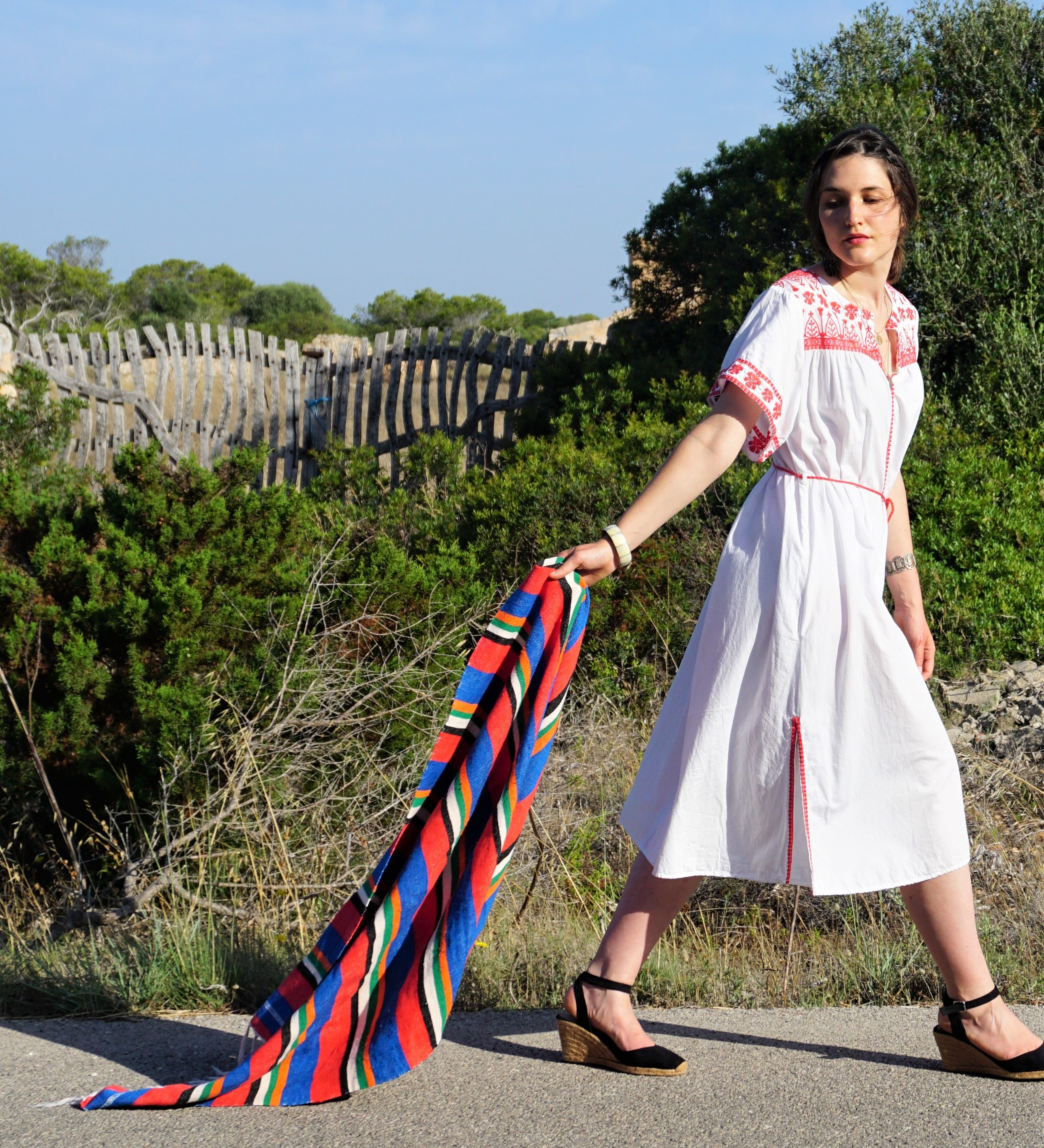 Outfit // embroidered midi dress + espadrilles