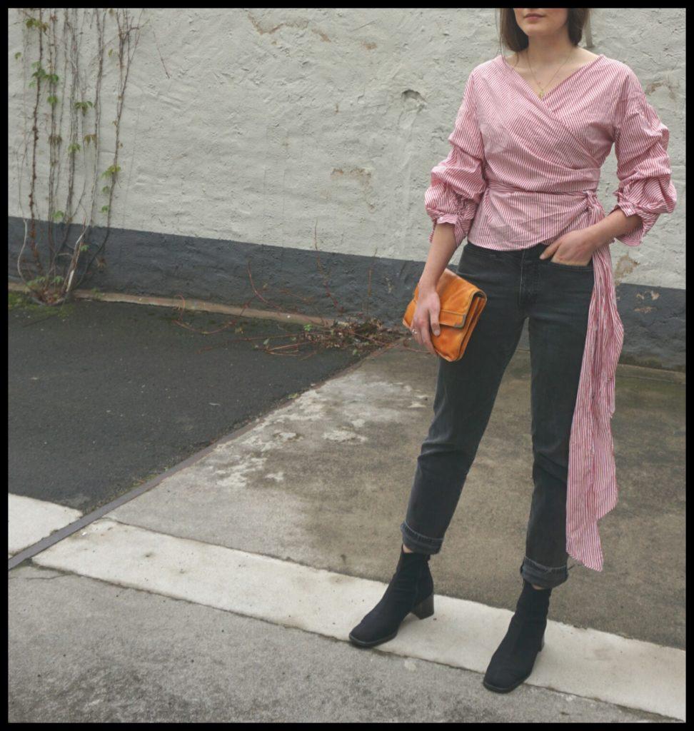 Closed Pedal Pusher Highwiast Jeans und Statement Bluse von Zara