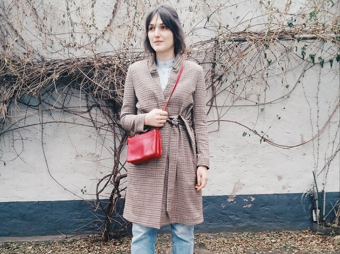 Outfit // other stories checked coat, Asos patent leather boots and Céline Trio bag